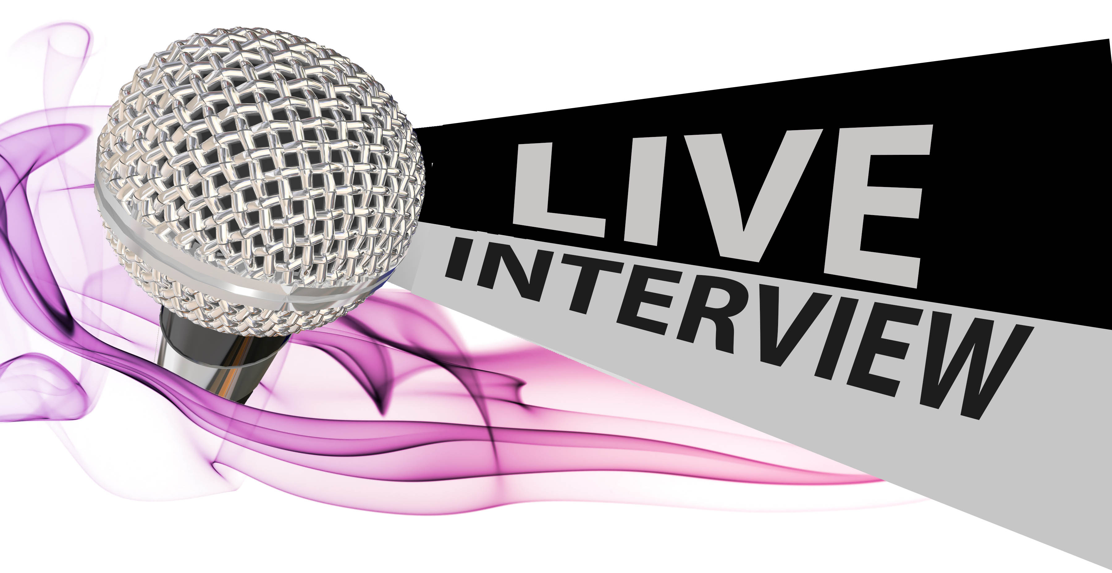 """Image of microphone with purple swirls and the words """"Live Interview"""""""